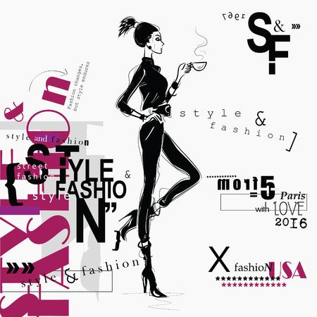 Fashion woman in sketch style. Çizim