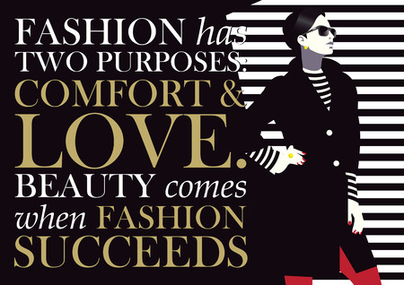 Fashion quote with woman in style pop art, vector illustration. Illustration