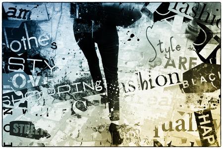 Modern teenage girl on grunge background.