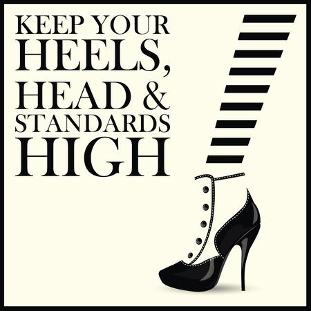 패션 여자 신발 따옴표입니다. 벡터 일러스트 레이 션.