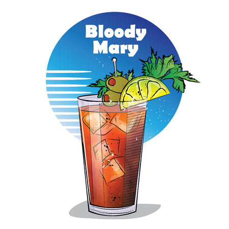 champagne celebration: Hand drawn illustration of cocktail. Bloody Mary.