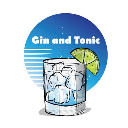 Hand getekende illustratie van cocktail. Gin en Tonic.
