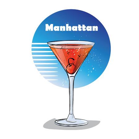 champagne celebration: Hand drawn illustration of cocktail. Manhattan.