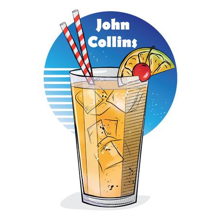 Illustrazione disegnata a mano di cocktail. John Collins. Illustrazione vettoriale