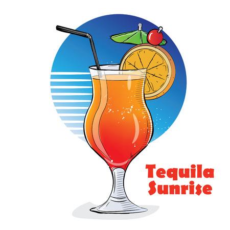 Illustrazione disegnata a mano di cocktail. Tequila Sunrise. Vettoriali