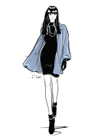 Fashion woman in sketch style