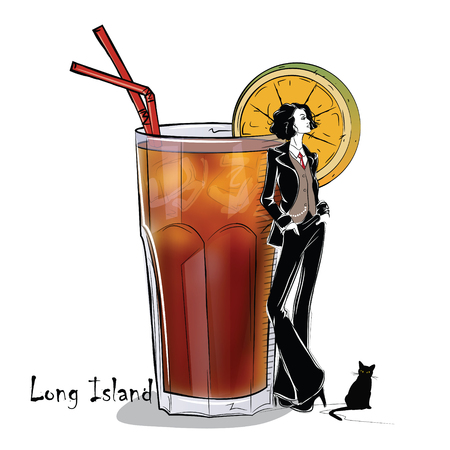 collins: Hand drawn illustration of cocktail with girl. Long Island. Vector illustration