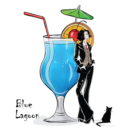 Hand drawn illustration of cocktail with girl.
