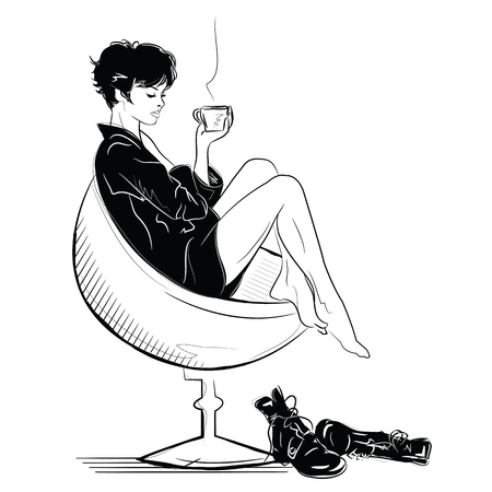 The fashion girl in sketch relaxes with a cup of coffee. Illustration