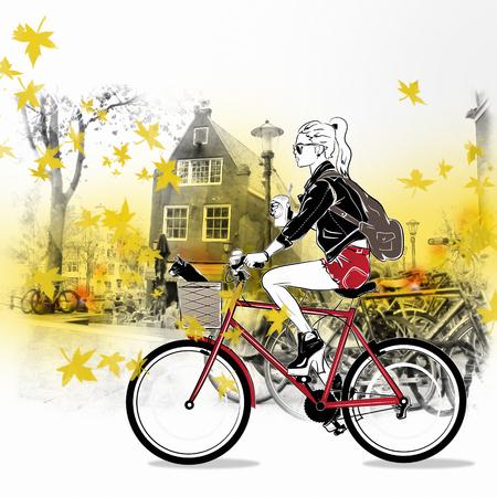 アムステルダムの通りに自転車でファッションの女の子。 写真素材