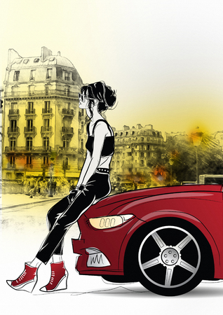 flirting: Fashion girl in sketch style in Paris.