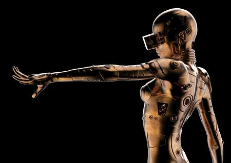 3D illustration. Stylish cyborg the woman.