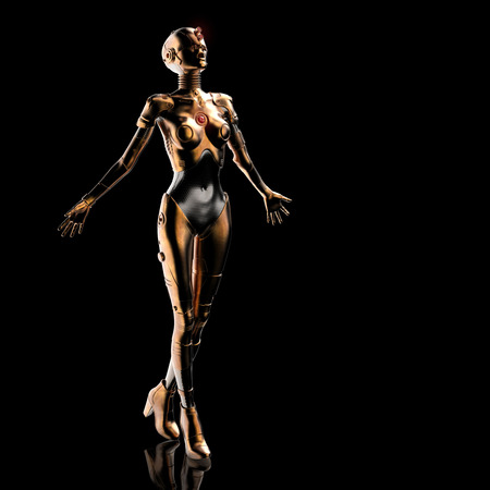 Stylish cyborg the woman. Futuristic fashion android.