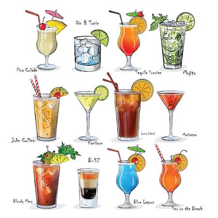Zbiór popularnych koktajli w menu.