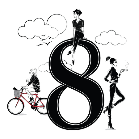 Fashion girls in sketch style with number eight.