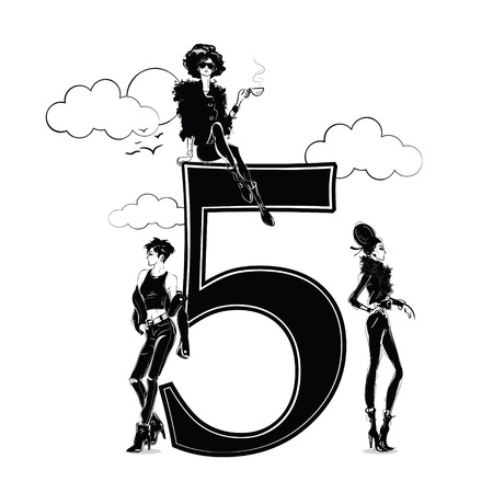 Fashion girls in sketch style with number