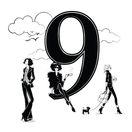 Fashion girls in sketch style with number nine.