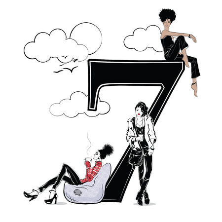 Fashion girls in sketch style with number seven. Illusztráció