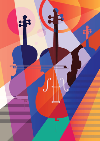 Abstract musical background, three contrabasses. Vector illustration