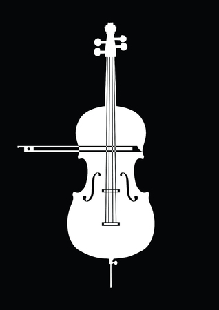 White contrabass collection on black background for design for musical theme. Black, white colors.