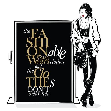 Fashion quote with fashion woman in sketch style. Vector illustration Ilustrace