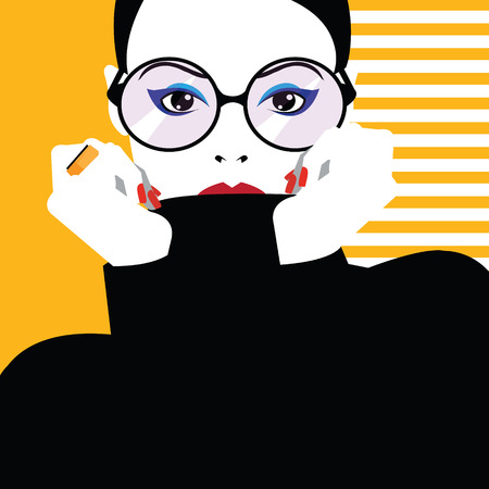 Fashion woman in style pop art. Vector illustration Çizim