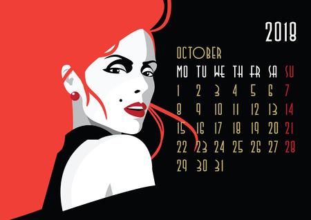 October 2018 calendar icon.