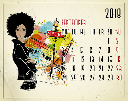 September. 2018 European calendar with fashion girl