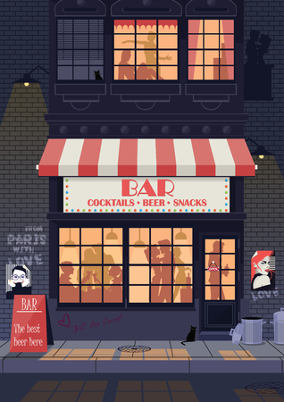 Old city street, night landscape. People have fun in bar. Vector illustration