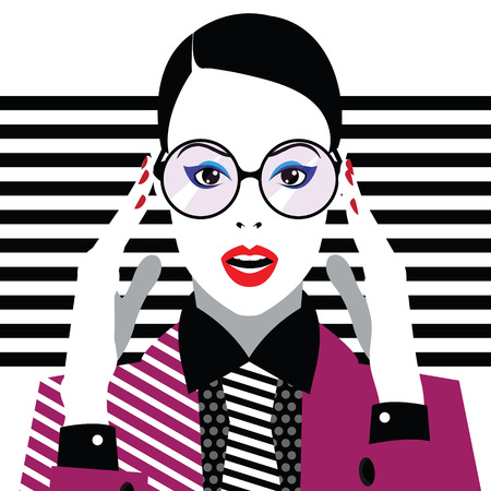 Fashion woman in style pop art. Vector illustration Ilustração