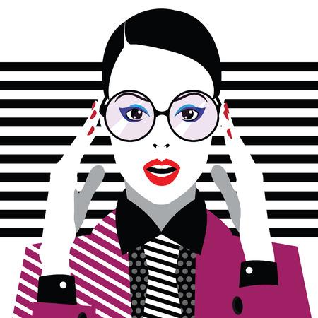 Fashion woman in style pop art. Vector illustration Illustration