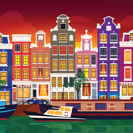 Flat cartoon multicolor colorful historic buildings city town Amsterdam panorama Holland. Illustration