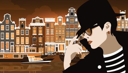 Moda donna in stile pop art. La ragazza sulla strada di Amsterdam, in Olanda. Illustrazione vettoriale Archivio Fotografico - 94463638