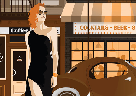 Fashion woman in style pop art The girl on the street of New York. Vector illustration Vettoriali