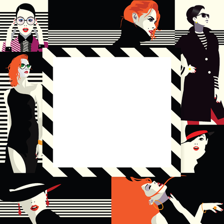 Collage of fashion girls in style pop art. Vector illustration Stock Vector - 94908410