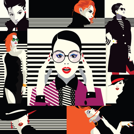 Collage of fashionable girls in style pop art.