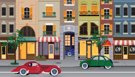Flat cartoon multicolor colorful historic buildings city town Paris, France. Vector illustration.  イラスト・ベクター素材
