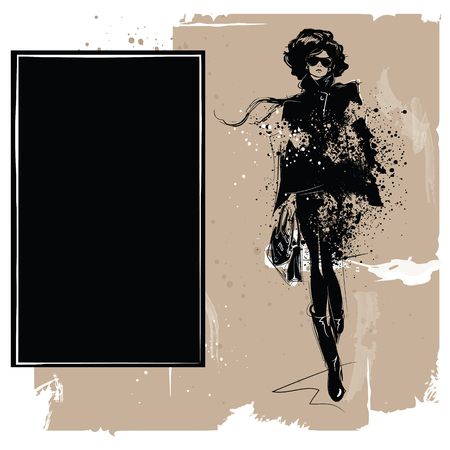 Fashion girl in sketch-style. Fashion woman portrait. Vector illustration. 向量圖像