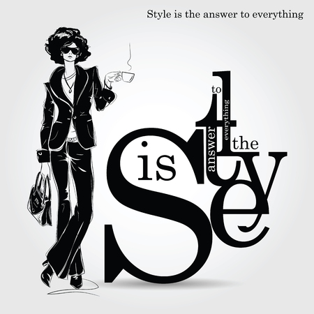 Fashion quote with fashion woman in sketch style. Vector illustration Illustration