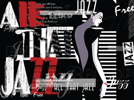 Jazz music, poster background template. Front view portrait of woman face