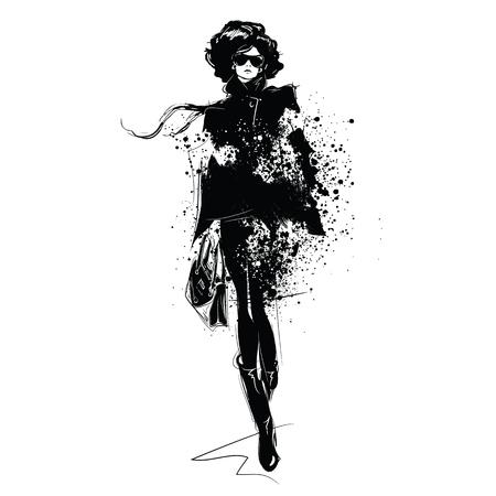 Fashion girl in sketch-style. Fashion woman portrait. Vector illustration. Çizim