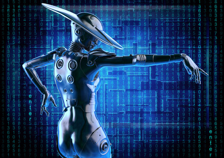 3D illustration. Stylish cyborg the woman. Futuristic fashion android. Stock Photo