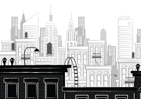 New york in style sketch. Black and white. Vector illustration.