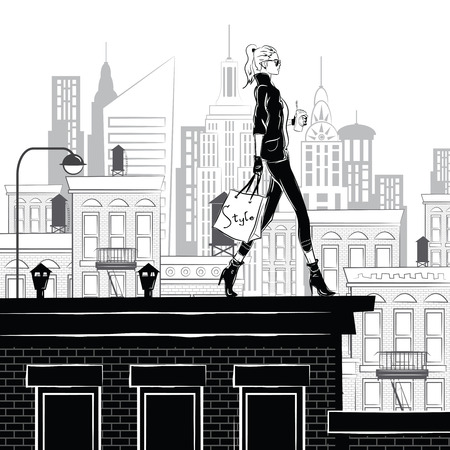 Fashion girl in style sketch on the rooftop in New York