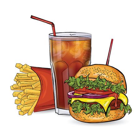 Burger, gratis e bere in stile schizzo su sfondo bianco. Illustrazione vettoriale