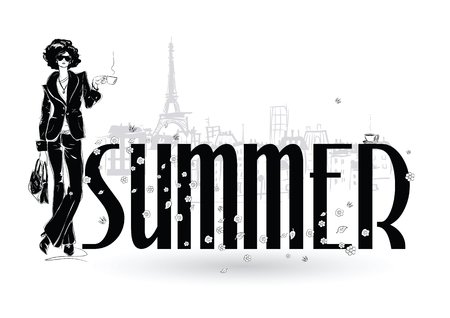 Summer. Fashion girls in sketch-style in Paris. Fashion woman portrait. Vector illustration. 일러스트