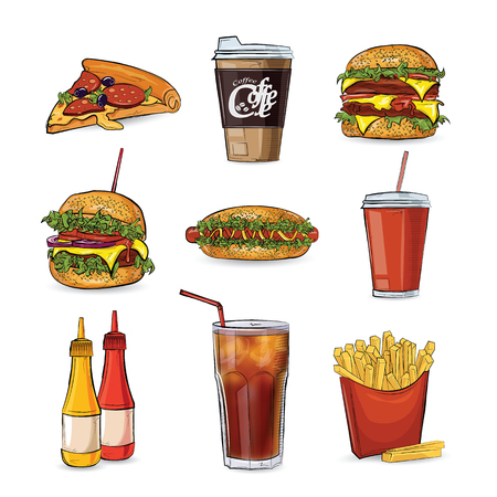 Fast food collection in style sketch on the white background. Vector illustration. Illustration