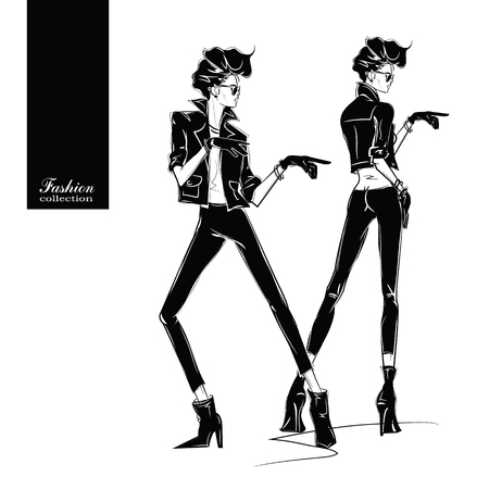 Two fashion women in sketch style. Vector illustration.