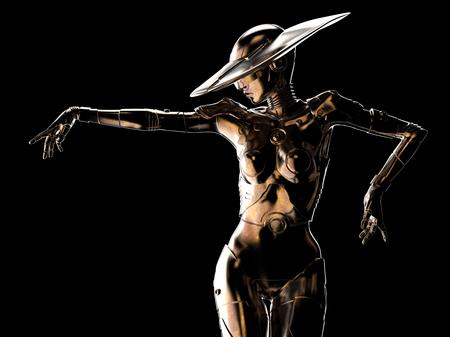 3D illustration. Stylish cyborg the woman. Futuristic fashion android. Stock Photo
