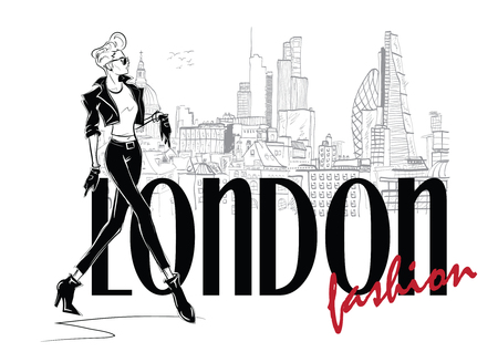 Fashion woman in sketch style in London. Vector illustration. Stock Illustratie